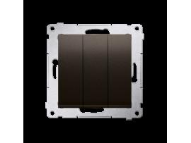 Trojitý vypínač s podsvietením (prístroj s krytom) 10AX 250V, pružinové svorky, hnedá matná