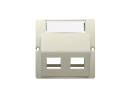 Kryt teleinformačních zásuviek na Keystone šikmé dvojité s popisným poľom. montáž krytu na pätky alebo na skrutky béžový