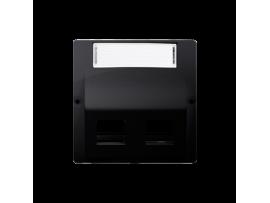 Kryt teleinformačních zásuviek na Keystone šikmé dvojité s popisným poľom. montáž krytu na pätky alebo na skrutky grafit mat. metalizovaný