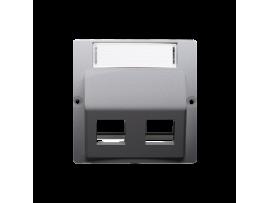 Kryt teleinformačních zásuviek na Keystone šikmé dvojité s popisným poľom. montáž krytu na pätky alebo na skrutky strieborná matná