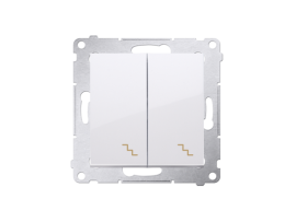Striedavý prepínač dvojitý, radenie č. 6+6 (prístroj s krytom) 10AX 250V, skrutkové svorky, biela