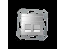 Krytka teleinformačních zásuviek na Keystone plochá dvojitá hliník