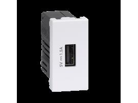 Nabíjačka USB K45 USB 2.0 - A 5V DC 1,5A 45×22,5mm čisto biela