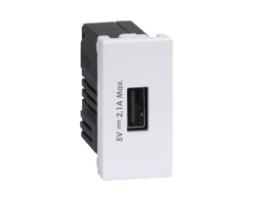 Nabíjačka USB K45 USB 2.0 - A 5V DC 2,1A 45×22,5mm čisto biela