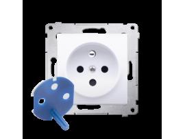 Jedno zásuvka DATA s oprávňujúcim kľúčom pre rámčeky Nature pre rámčeky Premium (prístroj s krytom) 16A 250V, skrutkové svorky, antibakteriálna biela ZRUŠENÉ Z PONUKY - VÝMENA: SGD1M + DGD1P/AB11
