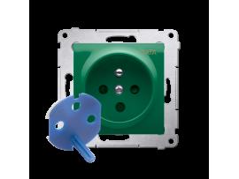 Jedno zásuvka DATA s oprávňujúcim kľúčom pre rámčeky Nature pre rámčeky Premium (prístroj s krytom) 16A 250V, skrutkové svorky, antibakteriálny zelený ZRUŠENÉ Z PONUKY - VÝMENA: SGD1M + DGD1P/AB33
