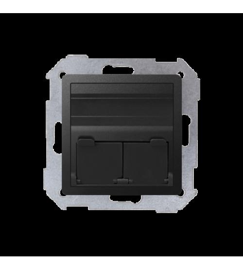 Kryt teleinformačních zásuviek na Keystone šikmá jednotná alebo dvojitá grafit