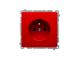 Jedno zásuvka s uzemnením s clonkami červený 16A