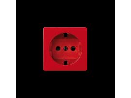 Kryt jednoduchej zásuvky s uzemnením typu Schuko červený