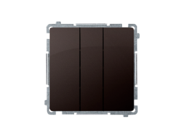 Trojitý vypínač s podsvietením nevymeniteľný LED farba: modrá (prístroj s krytom) 10AX 250V, pružinové svorky, čokoládový mat. metalizovaný