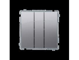 Trojité tlačítko s podsvietením nevymeniteľný LED farba: modrá (prístroj s krytom) 10AX 250V, pružinové svorky, nerez, metalizovaný