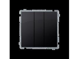 Trojité tlačidlo, radenie č. 3x1/0 (prístroj s krytom) 10AX 250V, pružinové svorky, grafit mat. metalizovaný