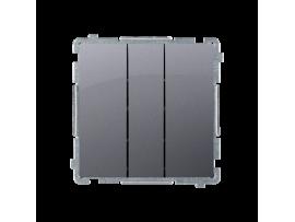 Trojité tlačidlo, radenie č. 3x1/0 (prístroj s krytom) 10AX 250V, pružinové svorky, strieborná matná