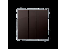 Trojité tlačítko s podsvietením nevymeniteľný LED farba: modrá (prístroj s krytom) 10AX 250V, pružinové svorky, čokoládový mat. metalizovaný