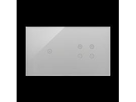 Dotykový panel 2 moduly 1 dotykové pole, 4 dotykové polia, búrková/striebro