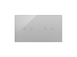 Dotykový panel 2 moduly 2 horizontálne dotykové polia, 2 horizontálne dotykové polia, búrková/striebro