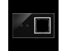 Dotykový panel 2 moduly 2 horizontálne dotykové polia, otvor pre príslušenstvo Simon 54, Lávová/striebro
