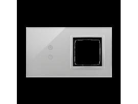 Dotykový panel 2 moduly 2 vertikálne dotykové polia, otvor pre príslušenstvo Simon 54, búrková/striebro
