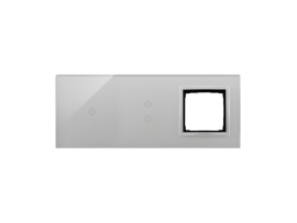 Dotykový panel 3 moduly 1 dotykové pole, 2 vertikálne dotykové polia, otvor pre príslušenstvo Simon 54, búrková/striebro