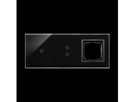 Dotykový panel 3 moduly 1 dotykové pole, 2 vertikálne dotykové polia, otvor pre príslušenstvo Simon 54, lávová/antracit