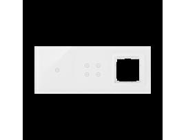 Dotykový panel 3 moduly 1 dotykové pole, 4 dotykové polia, otvor pre príslušenstvo Simon 54, perlová/biela