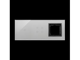 Dotykový panel 3 moduly 1 dotykové pole, 4 dotykové polia, otvor pre príslušenstvo Simon 54, Búrková/antracit