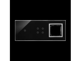 Dotykový panel 3 moduly 1 dotykové pole, 4 dotykové polia, otvor pre príslušenstvo Simon 54, Lávová/striebro