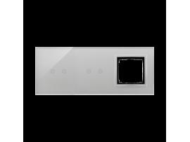 Dotykový panel 3 moduly 2 horizontálne dotykové polia, 2 horizontálne dotykové polia, otvor pre príslušenstvo Simon 54, búrková/striebro