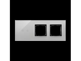 Dotykový panel 3 moduly 2 horizontálne dotykové polia, otvor pre príslušenstvo Simon 54, otvor pre príslušenstvo Simon 54, búrková/striebro