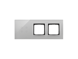 Dotykový panel 3 moduly 4 dotykové polia, otvor pre príslušenstvo Simon 54, otvor pre príslušenstvo Simon 54, búrková/striebro