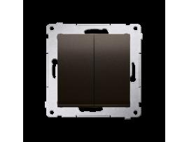 Dvojitý krížový prepínač, radenie č. 7+7 (prístroj) bez piktogramu (prístroj s krytom) 10AX 250V, pružinové svorky, hnedá matná