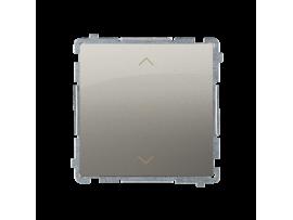 Spínač žalúziový jednonásobný trojpolohový (1-0-2) (prístroj s krytom) 10A 250V, pružinové svorky, saténový, metalizovaný