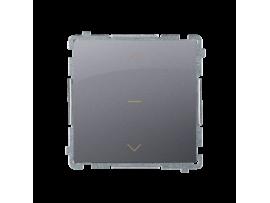 Spínač žalúziový jednonásobný trojpolohový (1-0-2) (prístroj s krytom) 10A 250V, pružinové svorky, strieborná matná