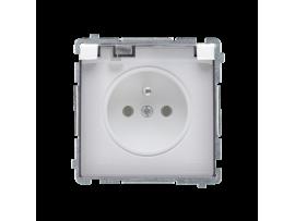 Jedno zásuvka s krytím IP44 s clonkami- klapka v transparentnej farbe biela 16A
