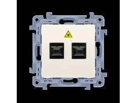 Optická dvojitá zásuvka krémová