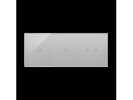 Dotykový panel 3 moduly 1 dotykové pole, 1 dotykové pole, 2 pola dotykowe poziome, búrková/striebro