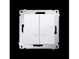 Dvojitý krížový spínač s orientačným podsvietením LED bez piktogramu (prístroj s krytom) 10AX 250V, pružinové svorky, biela