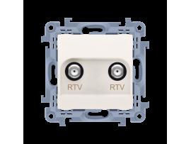 Anténná zásuvka RTV-RTV konečné / zakončené krémová