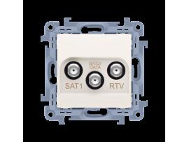 Anténna zásuvka SAT-SAT-RTV dvojitá satelitná tlm.:1dB krémová