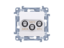 Anténna zásuvka RTV-DATA-SAT tlm.:1,5dB biela