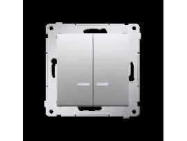 Dvojitý krížový spínač s orientačným podsvietením LED bez piktogramu (prístroj s krytom) 10AX 250V, pružinové svorky, strieborná matná