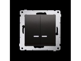 Sériový spínač s orientačným podsvietením LED s krytím IP44 (prístroj s krytom) 10AX 250V, pružinové svorky, antracitová