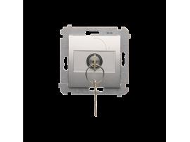 """Jednopólový spínač na kľúčik - 2 pozíciový """"0-I"""" (prístroj s krytom) 5A 250V, pre spájkovanie, strieborná matná"""