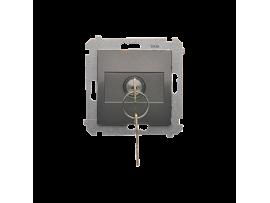 """Jednopólový spínač na kľúčik - 2 pozíciový """"0-I"""" (prístroj s krytom) 5A 250V, pre spájkovanie, antracitová"""