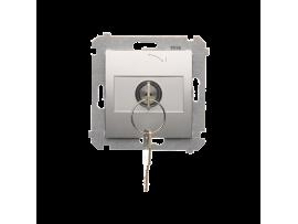"""Spínač na kľúč (tlačidlo) 2 polohový """"0-I"""" (prístroj s krytom) 5A 250V, pre spájkovanie, strieborná matná"""