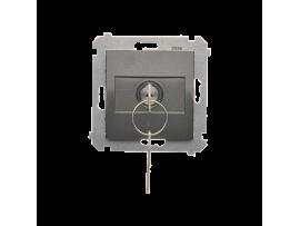 """Spínač na kľúč (tlačidlo) 2 polohový """"0-I"""" (prístroj s krytom) 5A 250V, pre spájkovanie, antracitová"""
