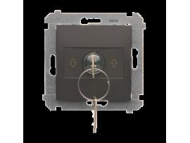 """Spínač na kľúčik žaluziový 3 polohový """"I-0-II"""" hnedá matná 5A"""