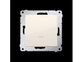 Jedno tlačidlo spínacie bez piktogramu s orientačným podsvietením LED, radenie č. 1/0 (prístroj s krytom) 10AX 250V, pružinové svorky, krémová
