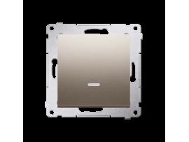 Jedno tlačidlo spínacie bez piktogramu s orientačným podsvietením LED, radenie č. 1/0 (prístroj s krytom) 10AX 250V, pružinové svorky, zlatá matná