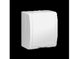 Jedno zásuvka s uzemnením krytie IP 54 - krycia klapka v bielej farbe biela 16A